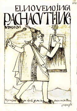 Ninth king of the Incas Pachacuti with a quipu