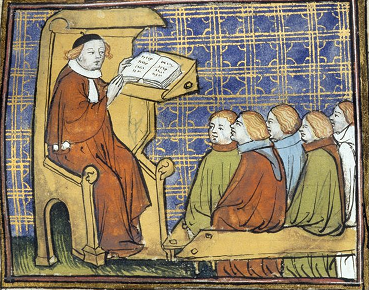 Medieval professor with his students